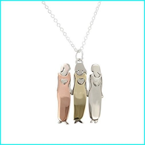 大人気の Sisters Necklace, Three Sisters or Best Friends Pendant Necklace in Mixed Metals on 18-20 inch Silver Plated Chain, 7247, ポンプネットショップ 5f64dc41