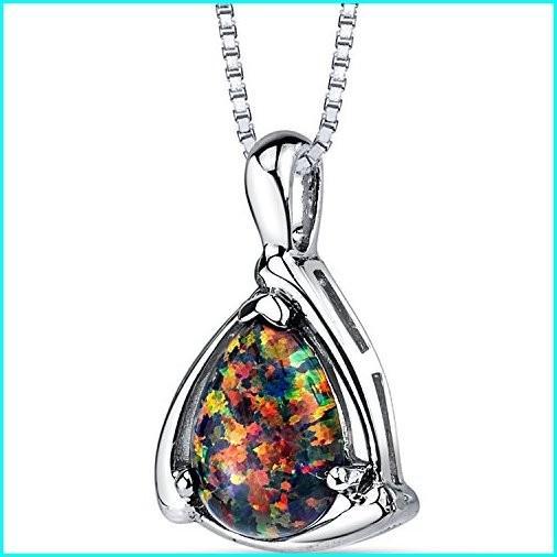 【現品限り一斉値下げ!】 Created Black Opal Equerre Pendant Necklace Sterling Silver 1.00 Carats, オートパーツ 325f7d4a