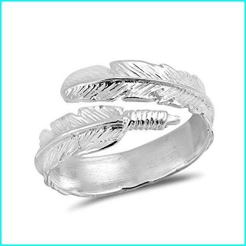 新入荷 AeraVida Spiritual Embrace Feather Wrap .925 Sterling Silver Ring (6), 日本人気超絶の 456992fd