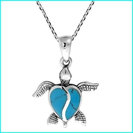【オープニングセール】 AeraVida Love Life Sea Turtle Heart Simulated Turquoise .925 Sterling Silver Pendant Necklace, 上九一色村 0818b275