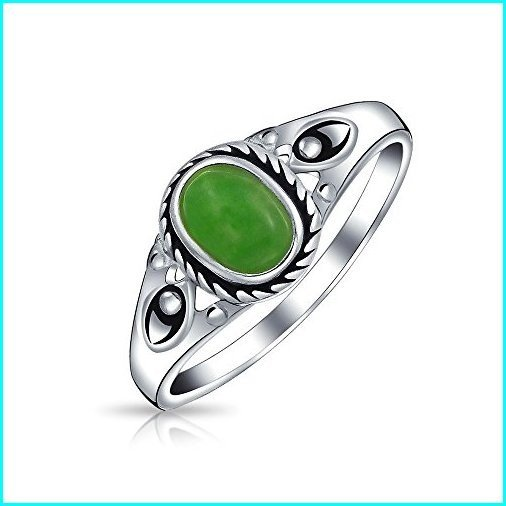 【有名人芸能人】 Boho Fashion Bali Style Oval Dyed Green Jade Bezel Filigree Band Ring For Women 925 Sterling Silver August Birthstone, 田中海苔店 f6be643c
