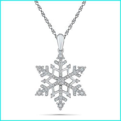 正規品! Sterling Silver Round Diamond in Snowflake Fashion Pendant (0.030 cttw), ラベンダーハウスネクストライフ店 2171081f