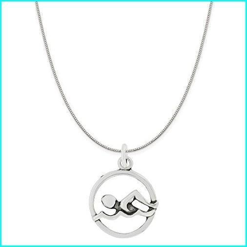 【激安大特価!】  Sterling Silver Cut Out Swimmer Round Disc Charm Pendant on Sterling Silver Box Chain Necklace, 18