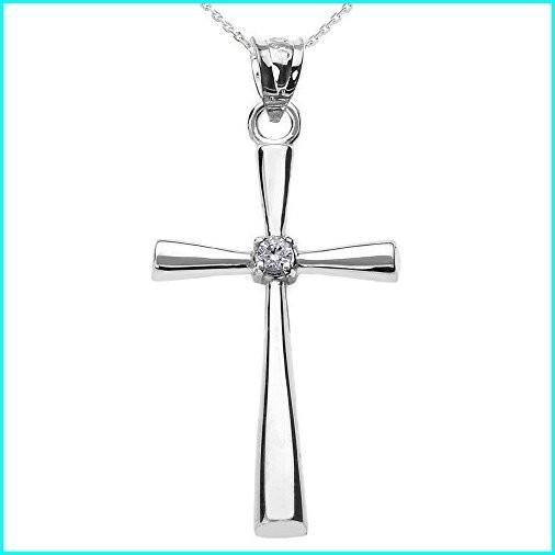 売り切れ必至! Religious Jewelry by FDJ Solitaire Diamond Cross Pendant Necklace in 925 Sterling Silver 16