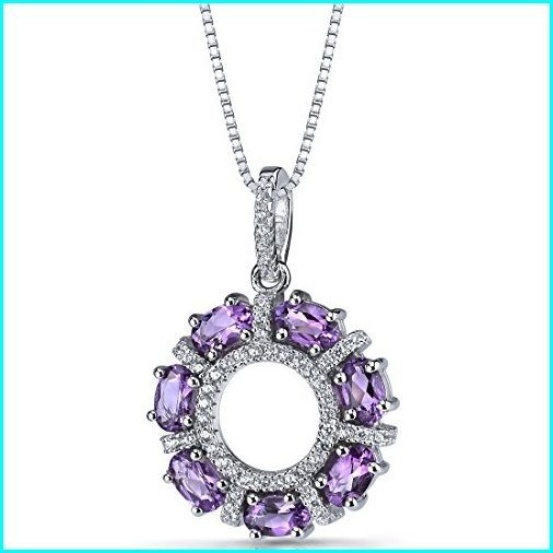 日本に Amethyst Dahlia Pendant Necklace Sterling Silver 1.75 Carats, 坂井郡 2349d740