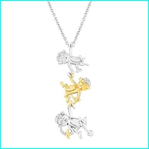 爆買い! Monkey Trio Pendant with Diamonds in Sterling Silver and 14k Yellow Gold, 18
