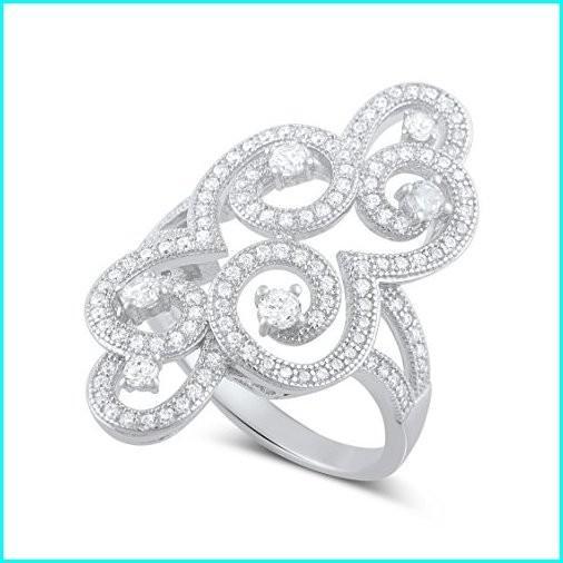 【大特価!!】 Sterling Silver Cz Filigree Swirl Statement Ring - Size 7, フナバシシ ae0e1752