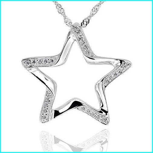 新品 GemsChest Sterling Silver Round Cubic Zirconia Cut-Out Star Pendant Necklace 18