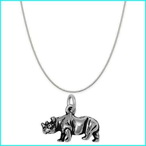 売れ筋商品 Raposa Elegance Sterling Silver 3D Rhinoceros Charm on a Sterling Silver 18
