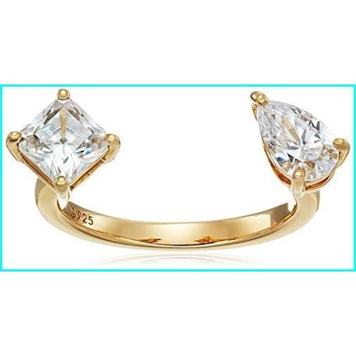 絶妙なデザイン Yellow-Gold-Plated Sterling Size Princess-Cut Silver Swarovski Zirconia 2-Stone Princess-Cut and 2-Stone Pear-Shape Ring, Size 8, felice vita:ac9200aa --- taxreliefcentral.com