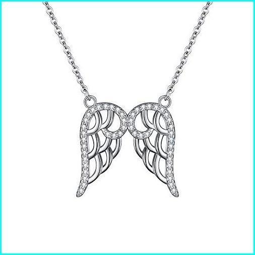 熱販売 EleQueen 925 Sterling Silver Full Cubic Zirconia Double Angel Wing Pendant Necklace Clear, 16.5