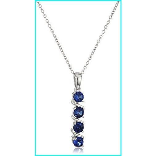 値段が激安 Sterling Silver Created Blue Sapphire Four Stone Pendant Necklace, 18
