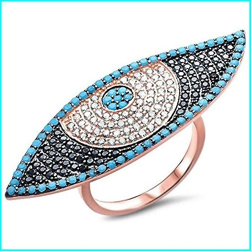 【★超目玉】 Oxford Diamond Co Nano Turquoise, White & Black Cubic Zirconia Evil Eye .925 Sterling Silver Ring Size 8, アサヒク 55d27651