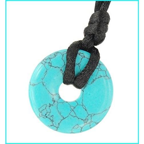 割引発見 Steampunkers USA Stone Wheelies - 25mm Turquoise Blue Black - 20-22 Inch Adjustable Black Cord ? Crystal Gemstone Collectibles Carved Necklace Handm, クイーンズ ハニー ビューティー de9f920e