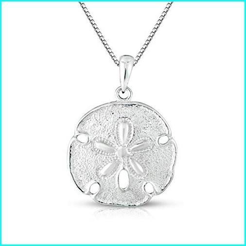 全国宅配無料 Unique royal jewelry Sterling Silver Solid Two Sides Medium Size Sand Dollar Starfish Charm and Necklace. (20
