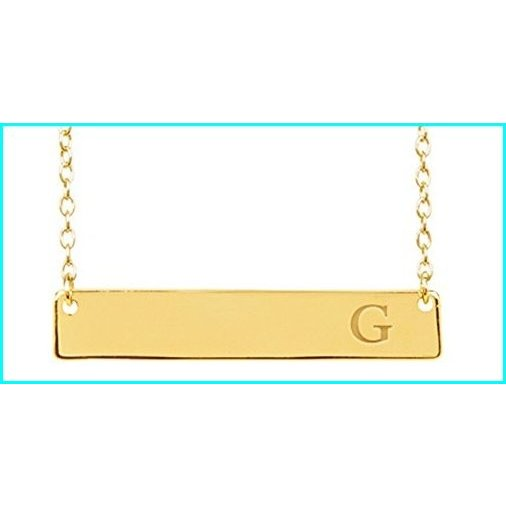 【60%OFF】 Gold Vermeil Initial Bar Necklace for Women, 16-18 Inches, Strong Lobster Clasp in Sterling Silver, 本家屋 4dcf7a75