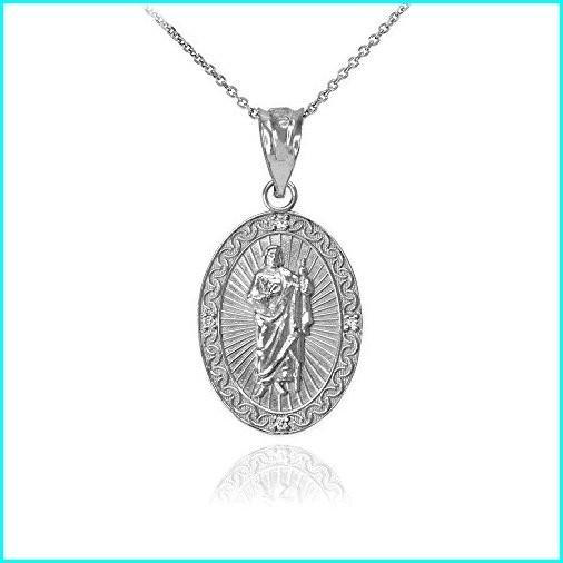 【公式ショップ】 Sterling Silver Saint Jude Thaddeus CZ Oval Medal Pendant Necklace (Small), 18