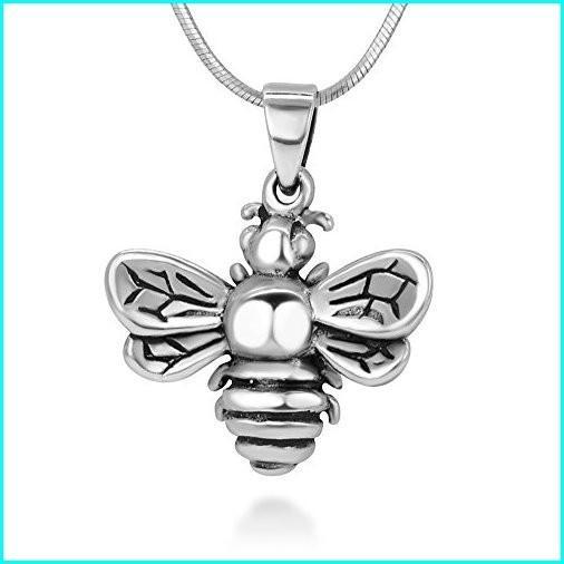 贈り物 925 Oxidized Sterling Silver Queen Honey Bee Little Bumblebee Pendant Necklace, 18 inches Chain, オオタワラシ d7b94b44