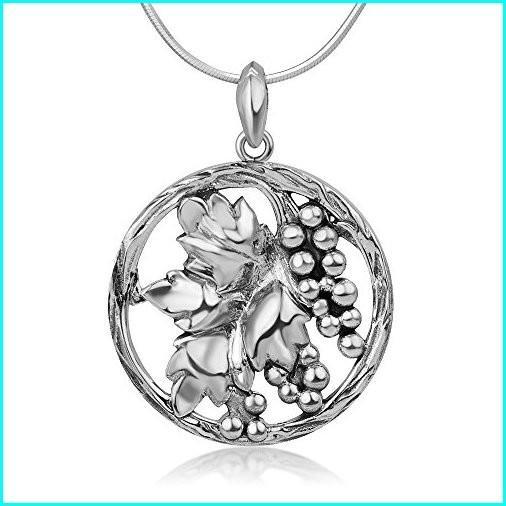 【在庫処分】 Chuvora 925 Sterling Silver Antique Grapes Vineyard Leaves Cut Open Round Pendant Necklace, 18 inches, イズモザキマチ 19c89385