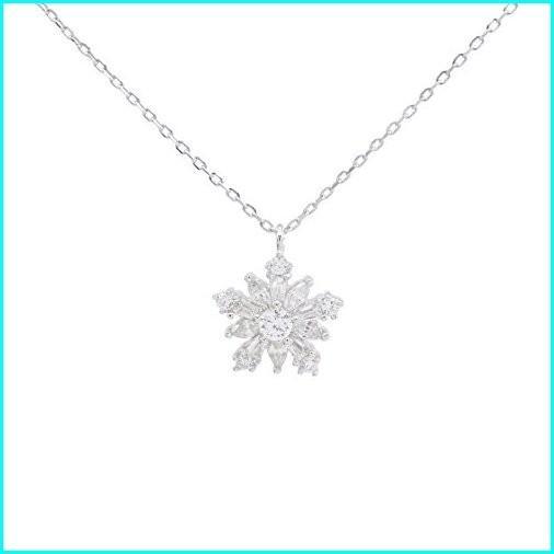【完売】  Jewel Zone US Snowflake Pendant Necklace in 14k White Gold Over Sterling Silver, モノダイレクト a8dc0cfe
