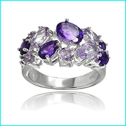 本物保証!  Ice Gems Sterling Silver Genuine African Amethyst and Amethyst Tonal Cluster Ring, 駒ヶ根市 fda24fe6
