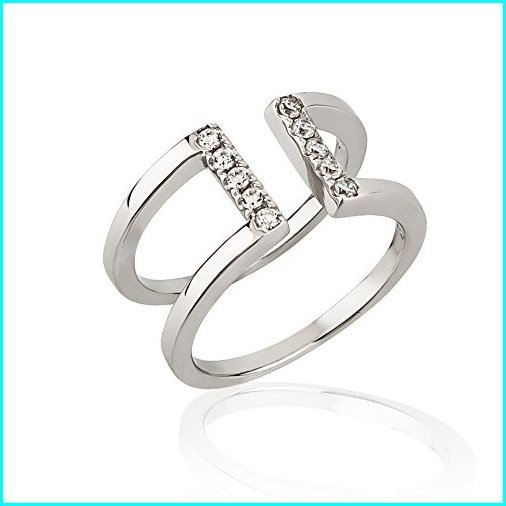 最新デザインの Chuvora 925 Sterling Silver Cubic Zirconia CZ Straight Line Center Knuckle Midi or Thumb Ring 8mm, Size 3.5, 我孫子市 0785d01a