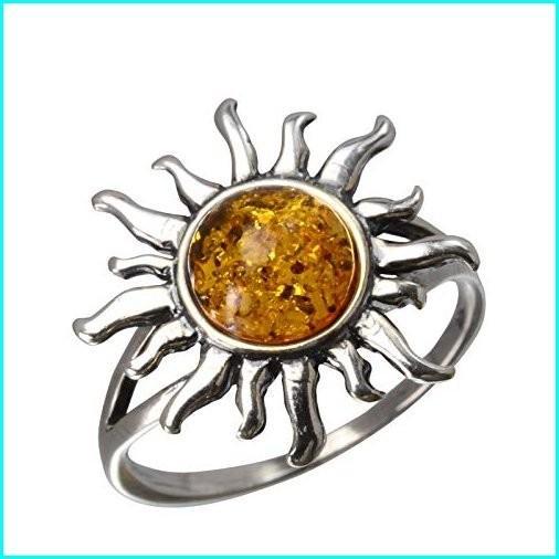 流行に  HolidayGiftShops Sterling Silver and Baltic Honey Amber Sun Ring Size: 10, スポーツのことなら何でもサンシン 9d89db12