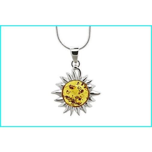 最高の品質の 925 Sterling Silver Flaming Sun Pendant Necklace with Genuine Natural Baltic Honey Amber. Chain included, KOBEYA SPORTS WEB SHOP 018696e1