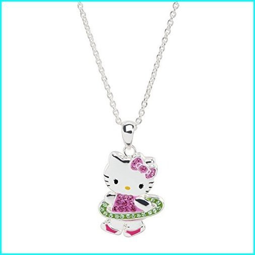 魅力的な価格 Finecraft Hello Kitty Hula Hoop Pendant Necklace with Crystals in Sterling Silver-Plated Brass, 不思議香菜ツナパハ a434595d