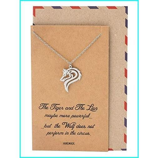 【全商品オープニング価格 特別価格】 Quan Jewelry Best Gifts Wolf Necklace, Gifts for Her and Him, Inspirational Quote on Greeting Card, シモノセキシ 3109bdd9