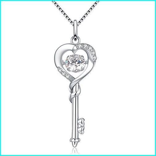 値引きする MABELLA Dancing CZ Key to Heart Sterling Silver Key Pendant Necklace, for Women, 開聞町 cd9d17d3
