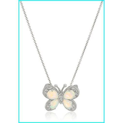 安い割引 Jewelili Sterling Silver Created White Sapphire with Created Opal Butterfly Pendant Necklace, 18