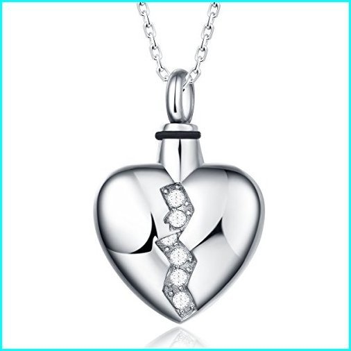 人気ブランド UNY Trendy Stainless Steel Broken Heart Pet Urn Ashes Pendant Memorial Ash Keepsake Cremation Jewelry, 酒の茶碗屋 2ec0617b