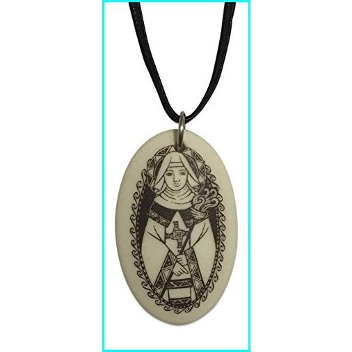 結婚祝い Touchstone Pottery St Brigid Porcelain Oval Medal on Braided Cord | Patron Saint of Ireland and Babies, インドサラサの店 53a8331c