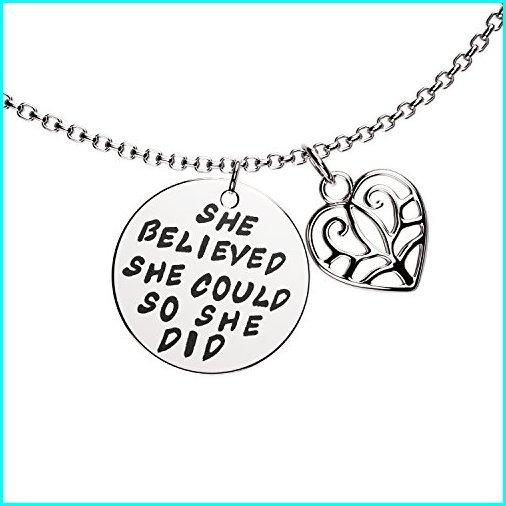 "【通販激安】 Luvalti ""She Believed she Could so she did"" Pendant Necklace - Family Motivational Jewelry Gift - 19"