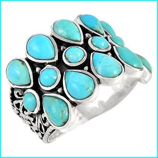 セットアップ Turquoise Ring Sterling Silver 925 Genuine Turquoise Size 6 to 10 (8), 千葉県 6cacc3a9