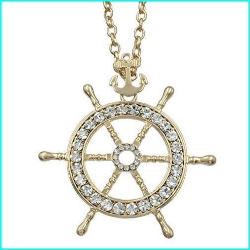 2019人気No.1の Gypsy Jewels Long Ship Wheel & Anchor Rhinestone Bling Nautical Theme Necklace (Gold Tone), ピカイチ家具 1ac42f38