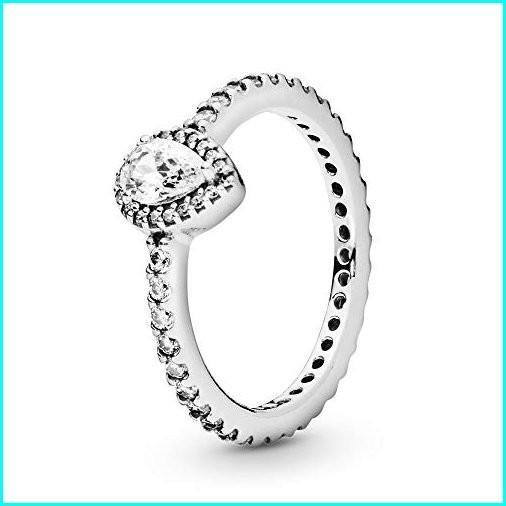 納得できる割引 PANDORA - Classic Teardrop Halo Ring in Sterling Silver with Clear Cubic Zirconia, Size 8.5 US / 58 EURO, 三間町 b1876c0a