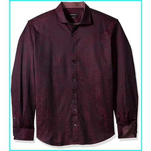 Bugatchi Mens Shaped Fit Long Sleeve Point Collar Button Down Shirt