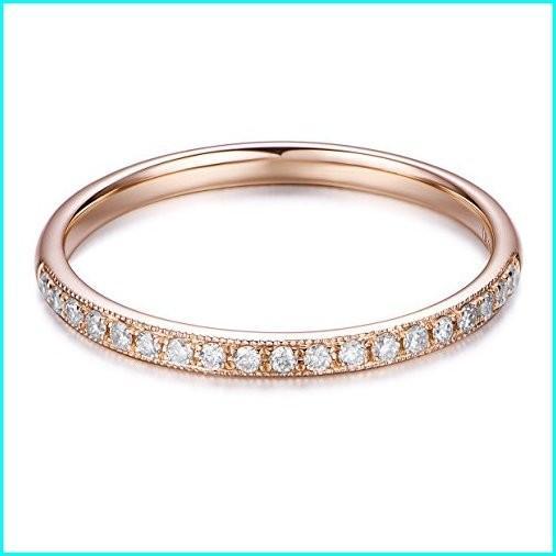 【初回限定お試し価格】 Hafeez Center 14K Solid Gold Petite Micropave Milgrain Eternity Girls Center Solid Ring Diamond Wedding Band Ring for Women and Girls (Rose-Gold, 8.5), 音戸町:9001f353 --- airmodconsu.dominiotemporario.com