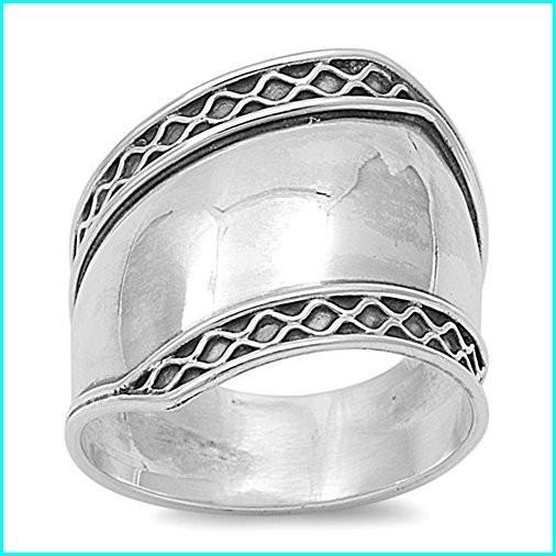 経典 Bali Polished Wide Unique Thumb Ring New .925 Sterling Silver Band Size 10, COUNTRY WOOD GARDEN 3280a402