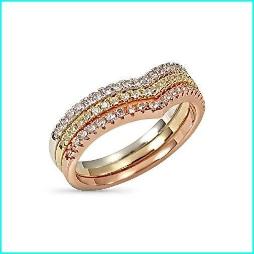 特別オファー Chevron Ring Set - Three Stackable Rings Gold Rose Silver Tone Pave Set Crystals, 赤や(インテリア家具通販) cf49ece3