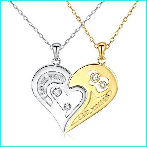 【通販 人気】 S925 Sterling Silver Couple Necklace Heart CZ for Women and Men, 南海部郡 8f632d22