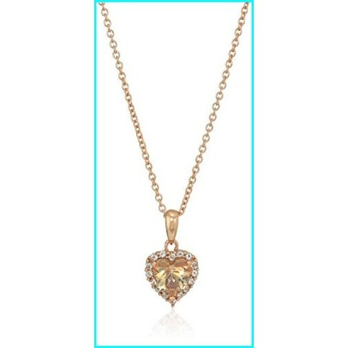 【国内配送】 Womens Rose Gold Plated Sterling Silver Swarovski Zirconia Heart Misty Rose Topaz Halo Pendant Necklace with Cable Chain 16'', 17'', 18'', Expandable, イーカプコン 3f17b94d