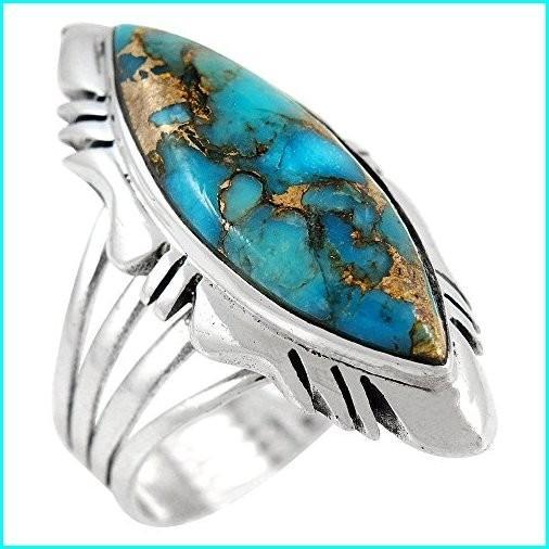 【名入れ無料】 Sterling Silver Ring with Genuine Turquoise (SELECT color) (Teal/Matrix, 9), DZICARAT パワーストーン 天珠 e7476304