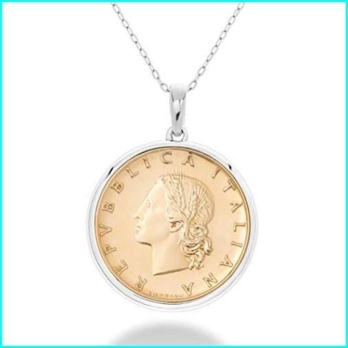 希少 黒入荷! MiaBella 925 Sterling Silver Genuine Italian 20-Lira Medallion Coin Pendant Necklace for Women 18 Inch Chain Made in Italy, リンガーハット fa1edfb4