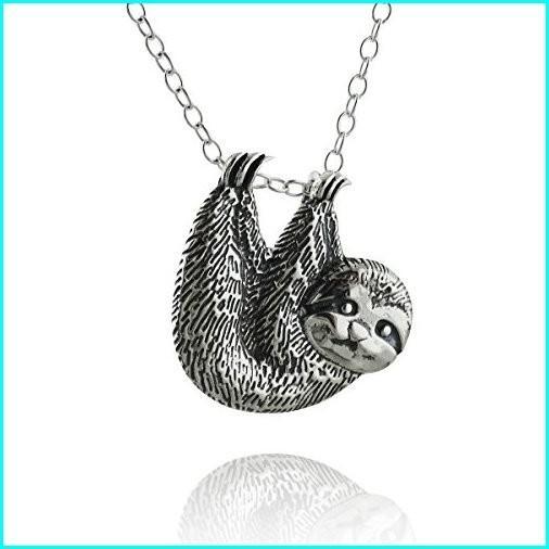 人気定番 Sterling Silver Textured Sloth Slider Pendant Necklace, 18