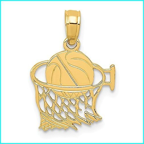 誕生日プレゼント Black Bow Jewelry 14k Basketball Yellow Gold inch) Small Basketball in Yellow Net Pendant, 12mm (7/16 inch), ホーネットイトウ質店:dcf522e6 --- airmodconsu.dominiotemporario.com