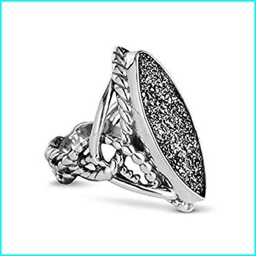 高品質の激安 Carolyn Pollack Sterling Silver Drusy Platinum-Colored Ring - Size 6, 小原村 2dea1fd3