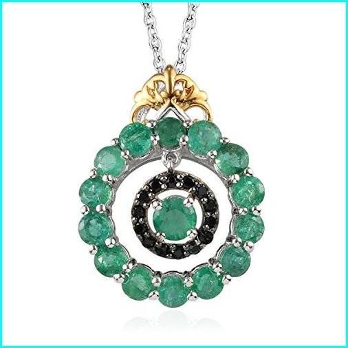 【在庫有】 Emerald Black Spinel Cttw 14K Yellow Over Gold and Platinum Over Gold Silver Dangle Pendant Necklace 2 Cttw Size 20
